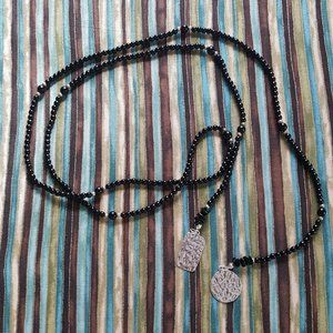 Silpada N1467 Onyx lariat Necklace w .925 elements
